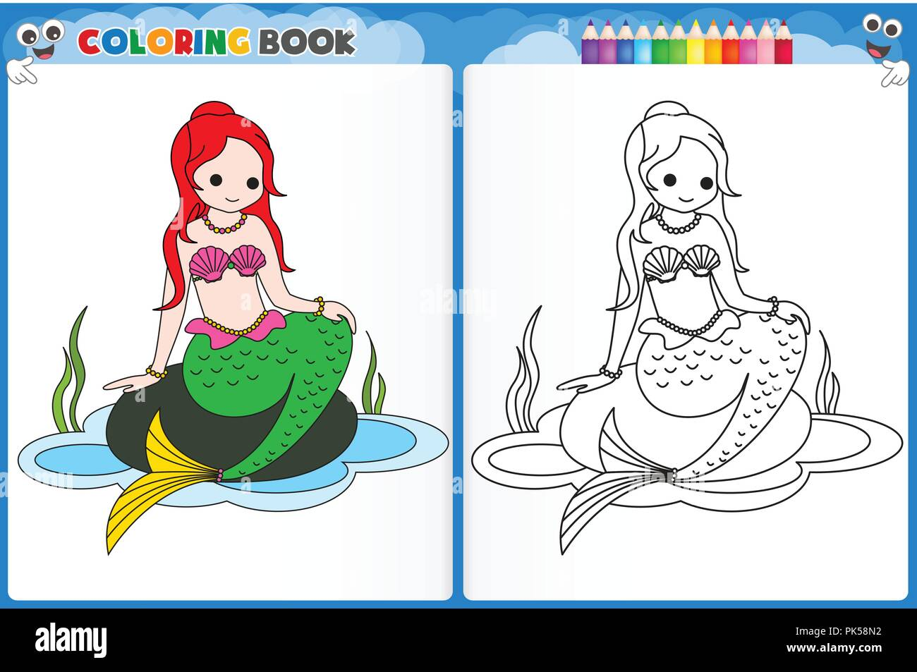 coloring page mermaid with colorful sample printable worksheet for