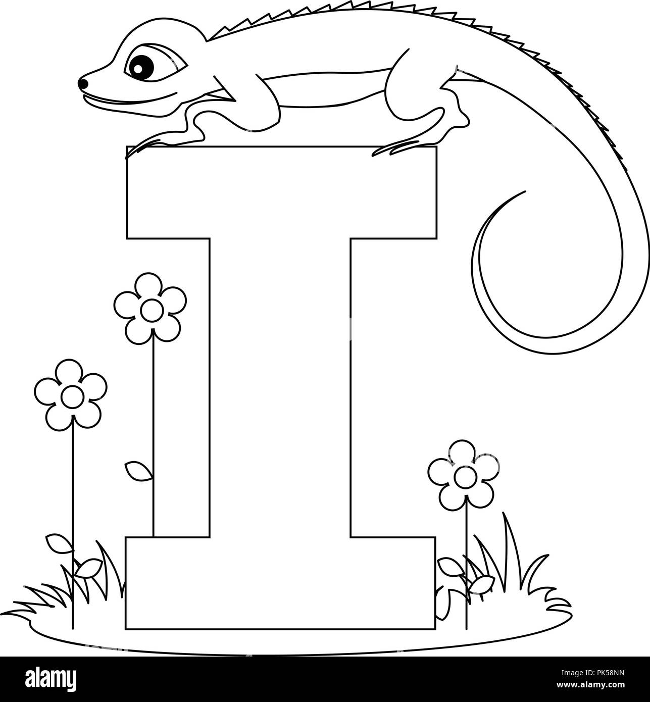Animal alphabet coloring book illustration with outlined ...