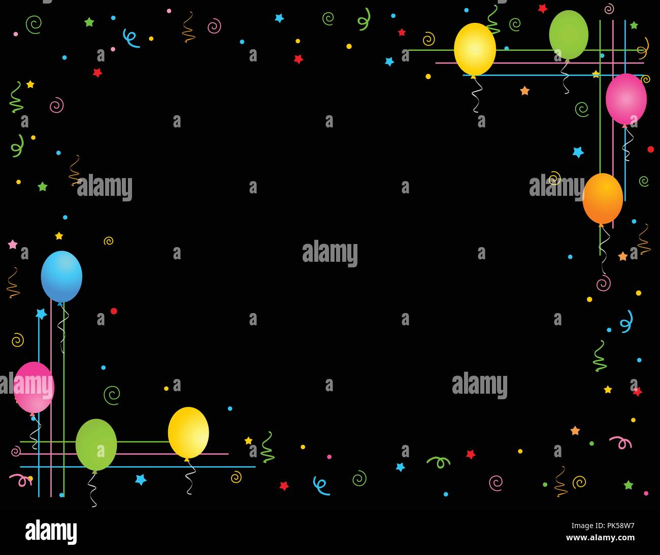 Colorful balloons isolated on black background illustration colorful balloons isolated on black background illustration greeting card invitation border and frame m4hsunfo