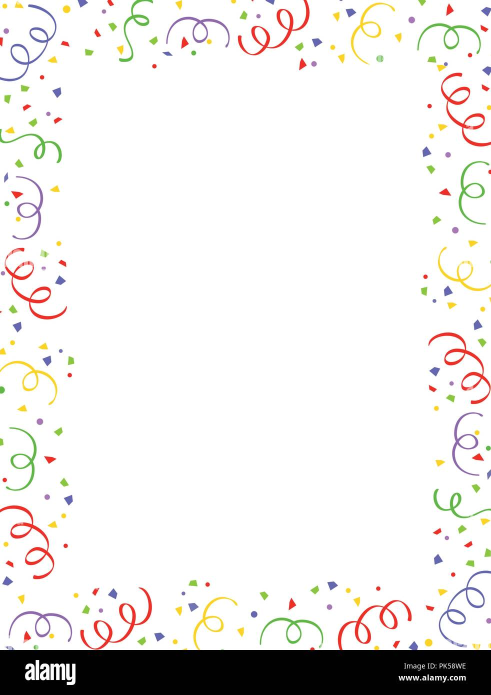 Colorful falling confetti party frame with empty space in