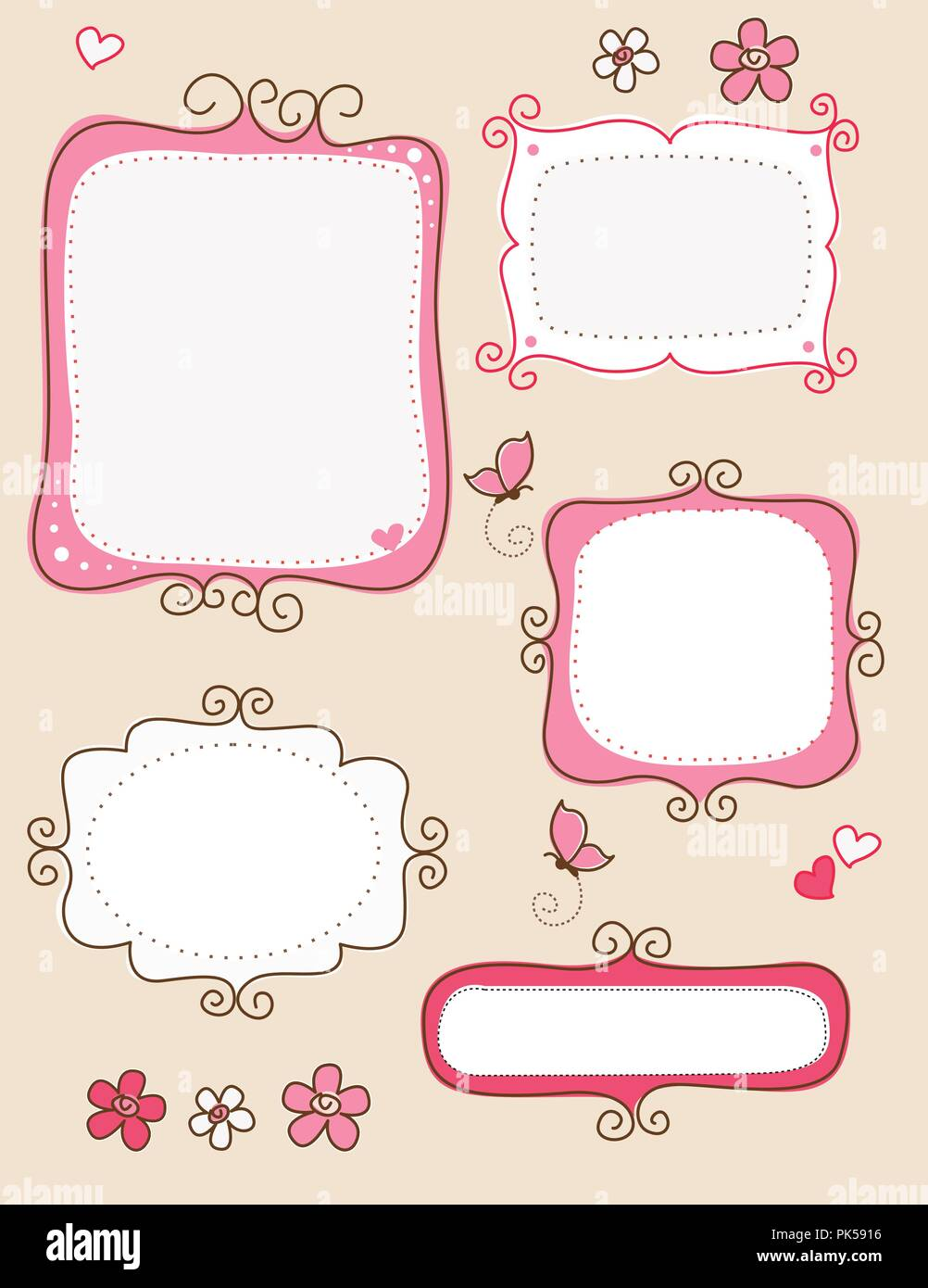 Collection of nice cute doodle frames on white background. specially for spring scrap booking - Stock Image