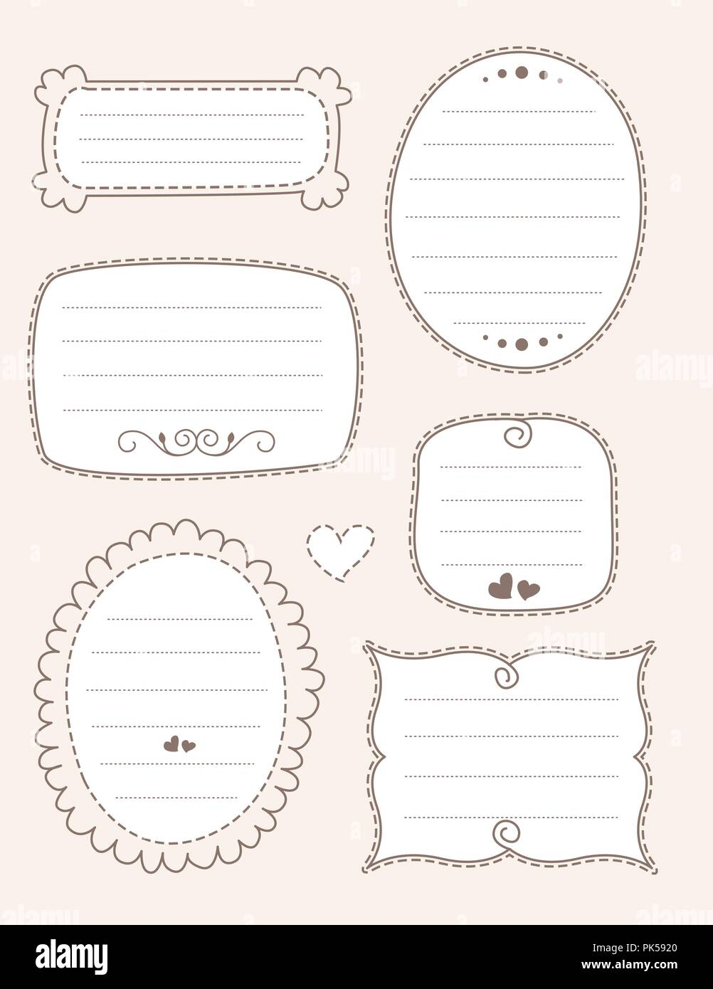 Collection of nice doodle frames on light brown background. specially for scrap booking - Stock Image