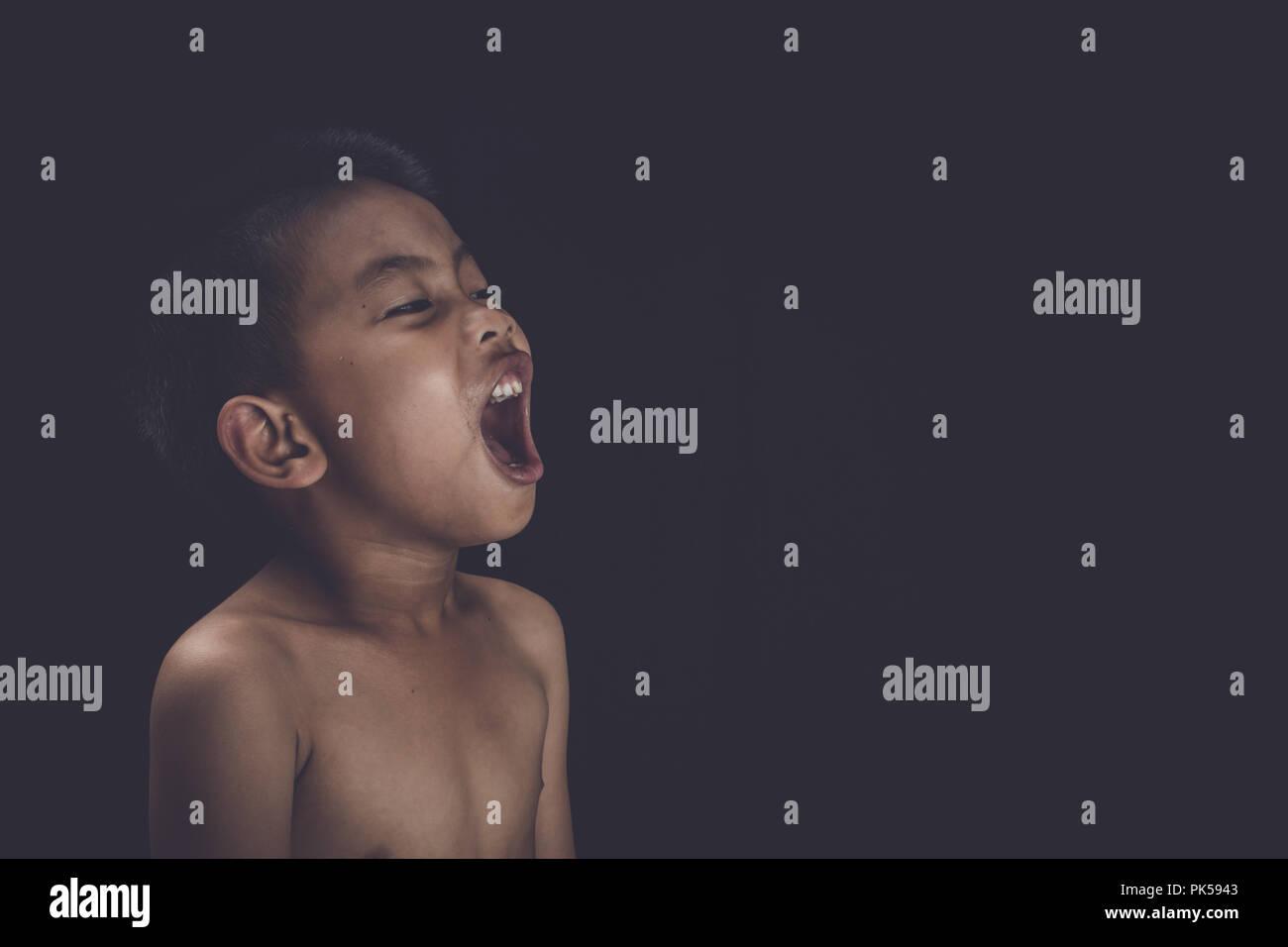 Violence in the lives of children, End violence against children concept, Children trafficking concept - Stock Image