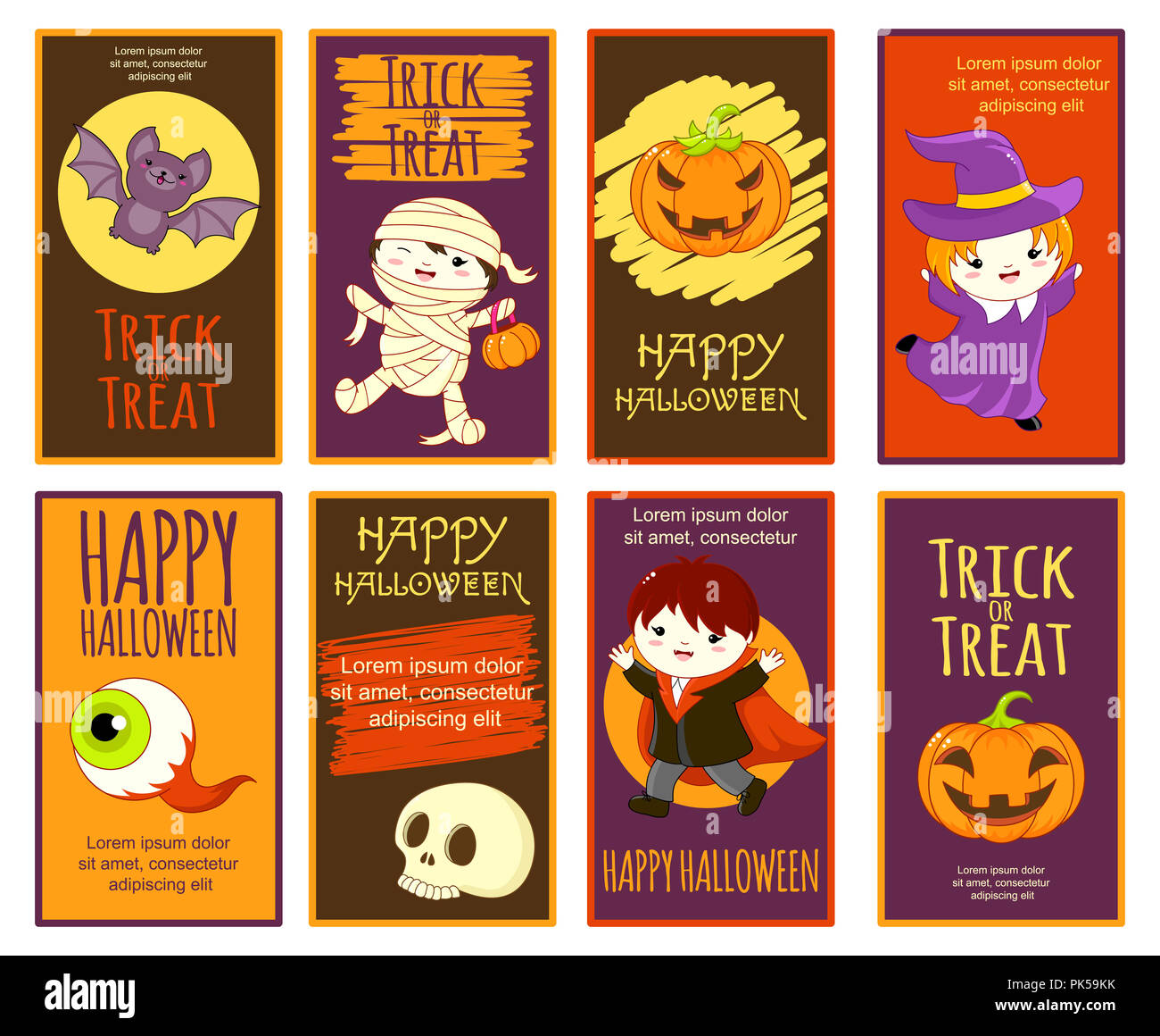 set of vector halloween with cartoon characters poster for