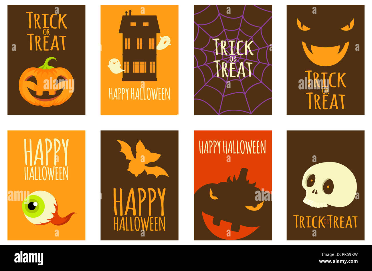 set of vector halloween cards of orange black and red color poster