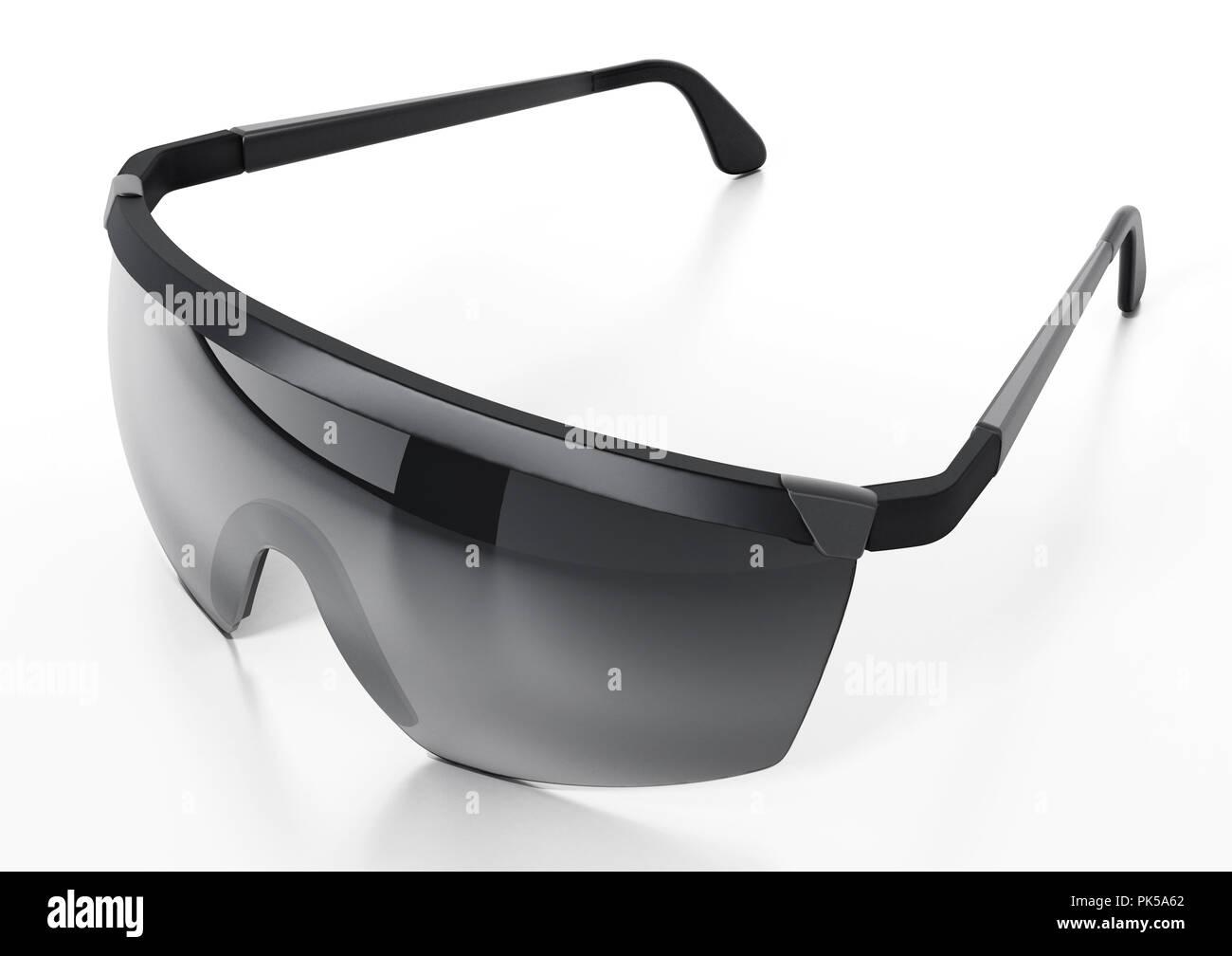 083e5256df1 Black ski glasses or sunglasses isolated on white background. 3D  illustration. - Stock Image