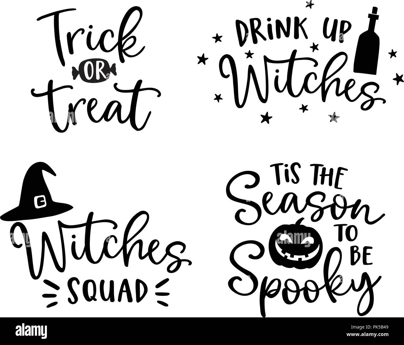 Set Of Handlettered Halloween Phrases Spooky Auumn Quotes With