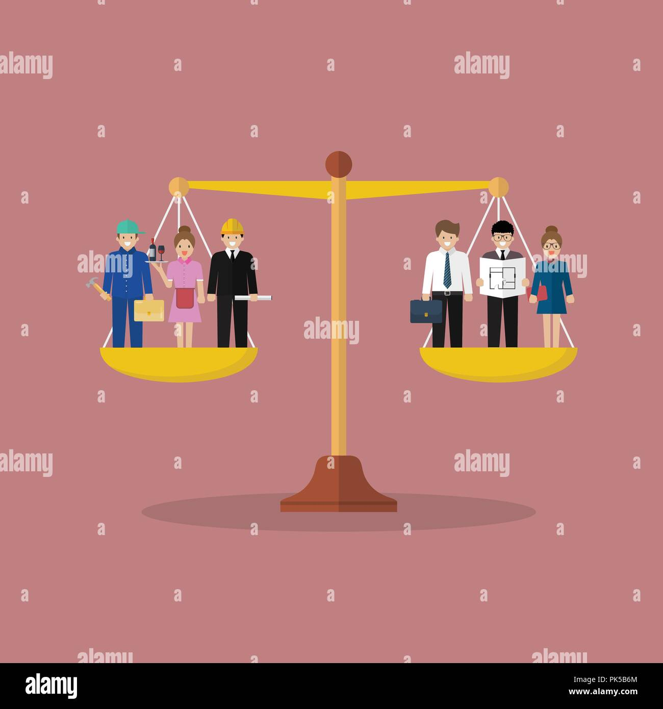 Businessman and businesswoman balancing on scales. Social justice concept - Stock Vector