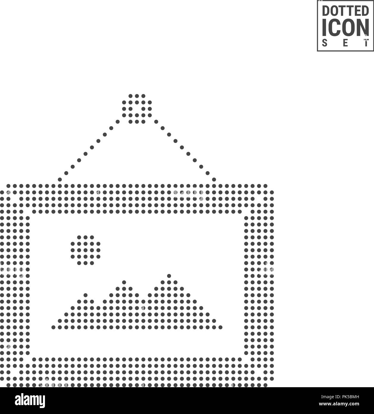 Picture Frame Hanging on a Nail Dot Pattern Icon  Default