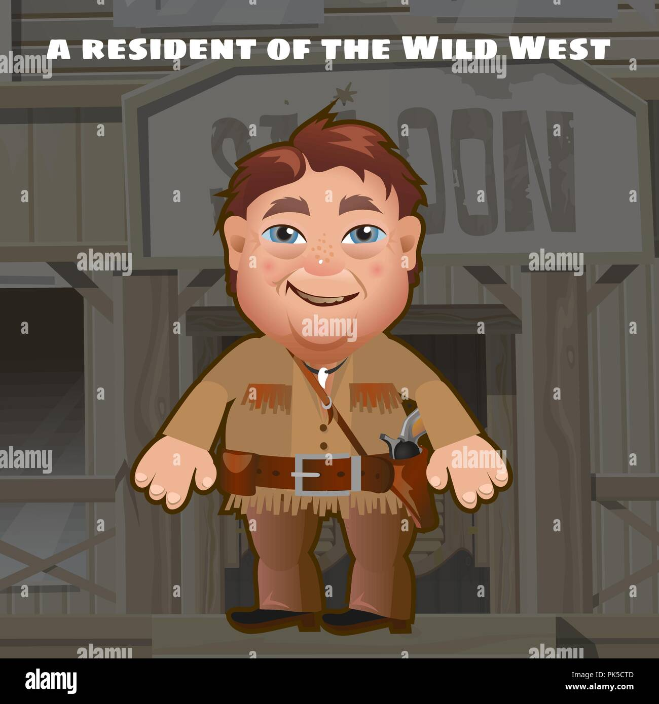 A resident of the wild West. An armed man stands in the background of the entrance to saloon. Funny animated man. Vector cartoon close-up illustration. - Stock Image