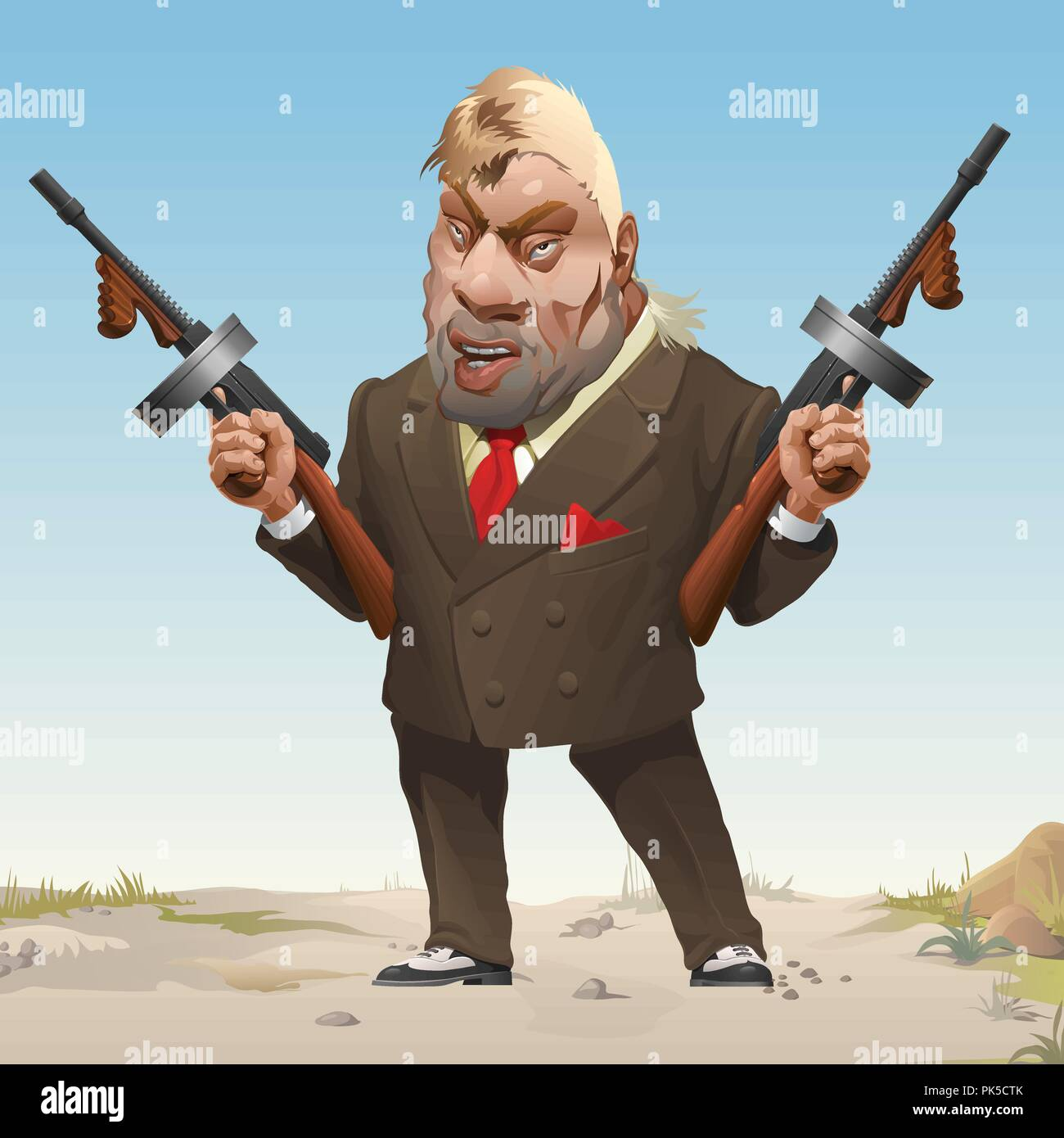 Gangster in stylish business fashion suit and sneakers armed with two machine guns. Bandit of wild West. Serious criminal unshaven male with a blonde hair threatens a firearm. Vector cartoon close-up. - Stock Image