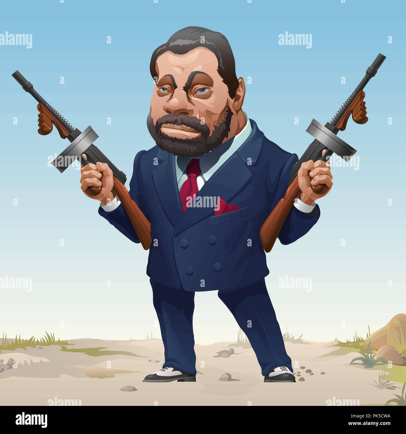 Gangster in stylish business fashion suit and sneakers armed with two machine guns. Bandit of wild West. Serious criminal male with a beard and mustache threatens a firearm. Vector cartoon close-up. - Stock Image