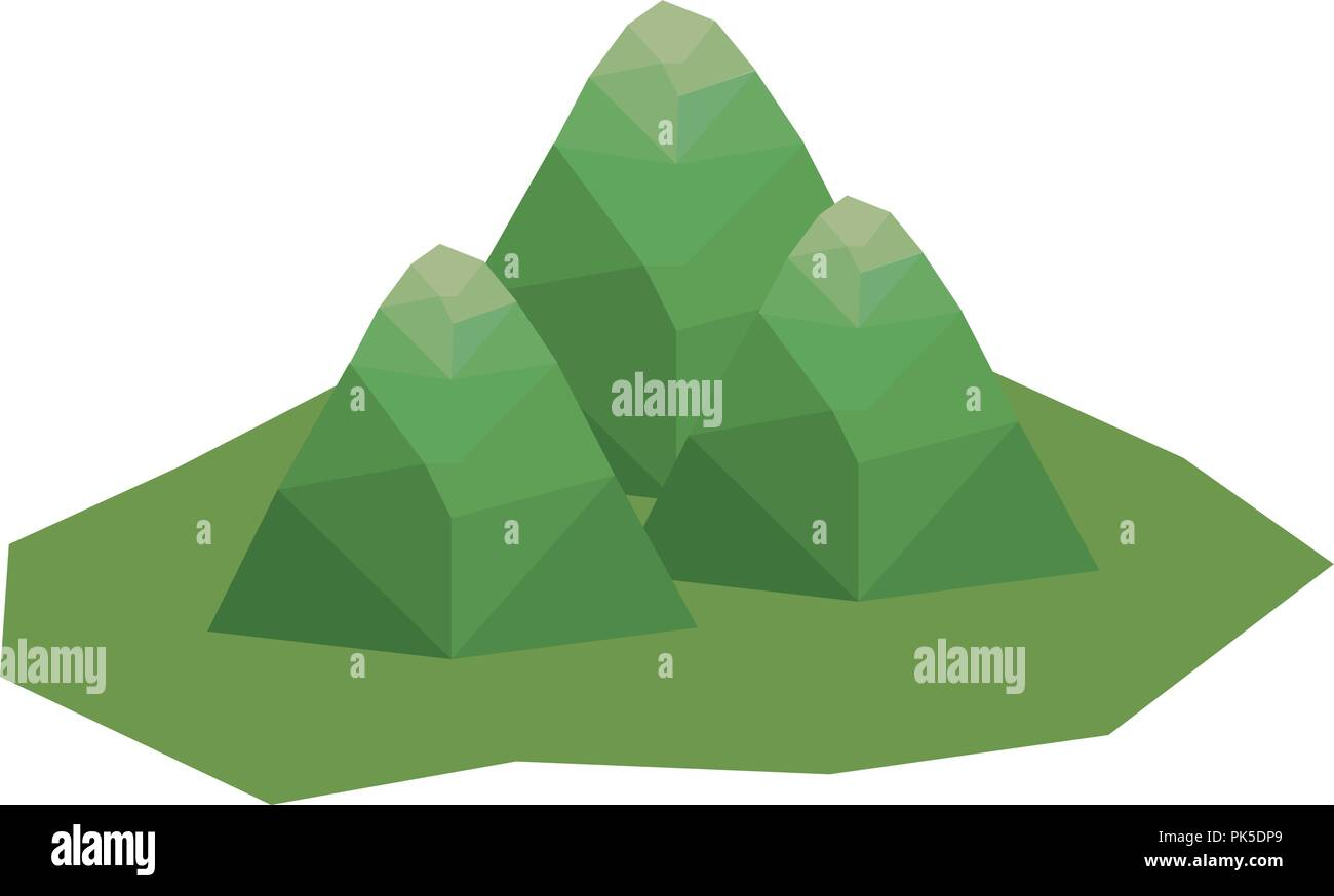 isolated and isometric mountain design - Stock Image