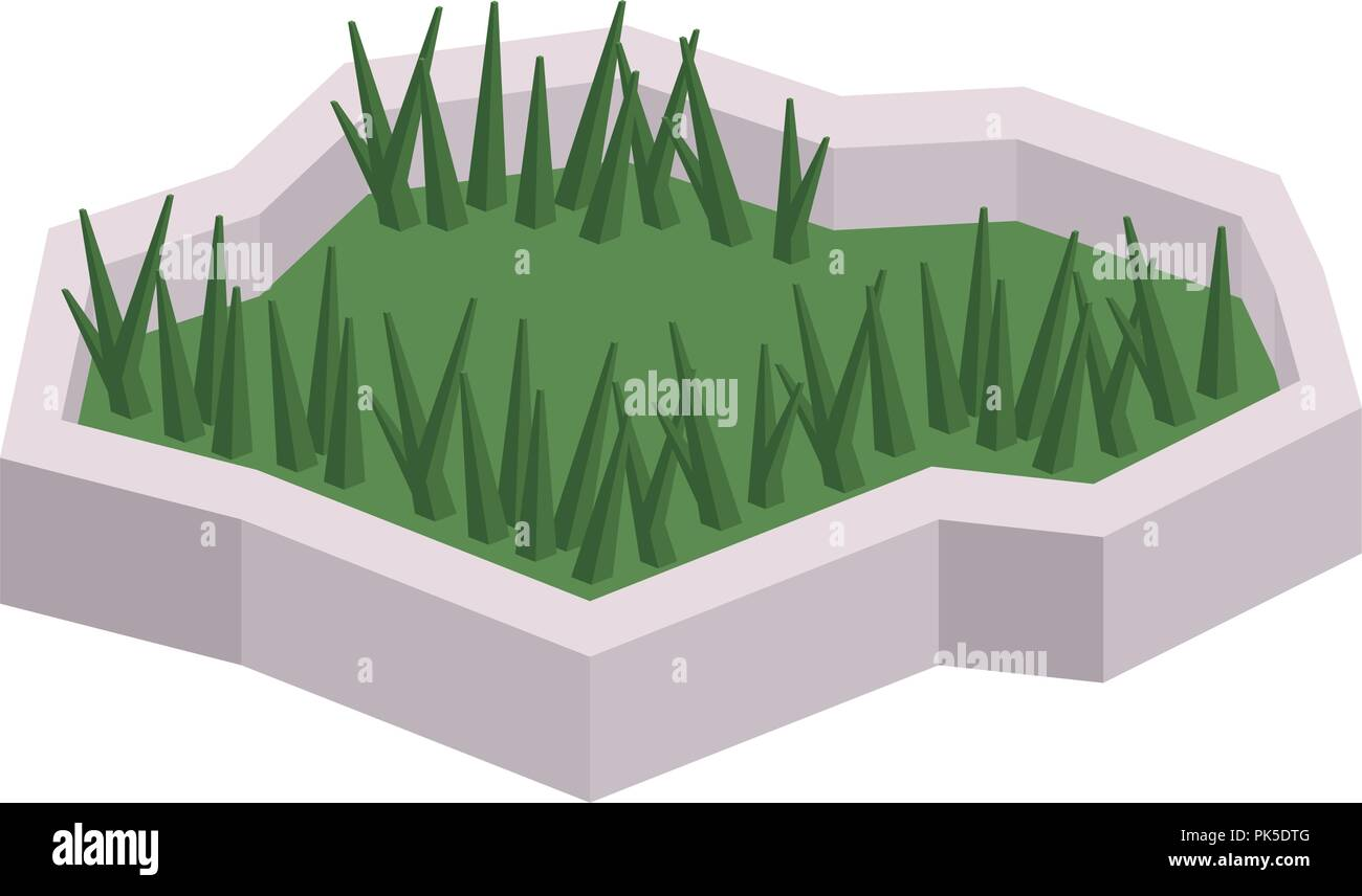 isolated and isometric grass design - Stock Image