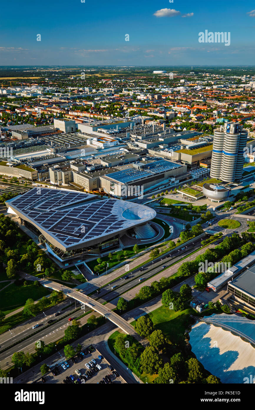 Aerial view of BMW Museum and BWM Welt and factory. Munich, Germ - Stock Image