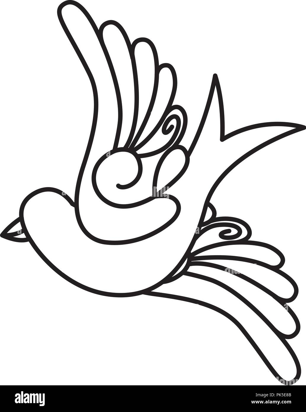 Flying bird cartoon black and white - photo#42