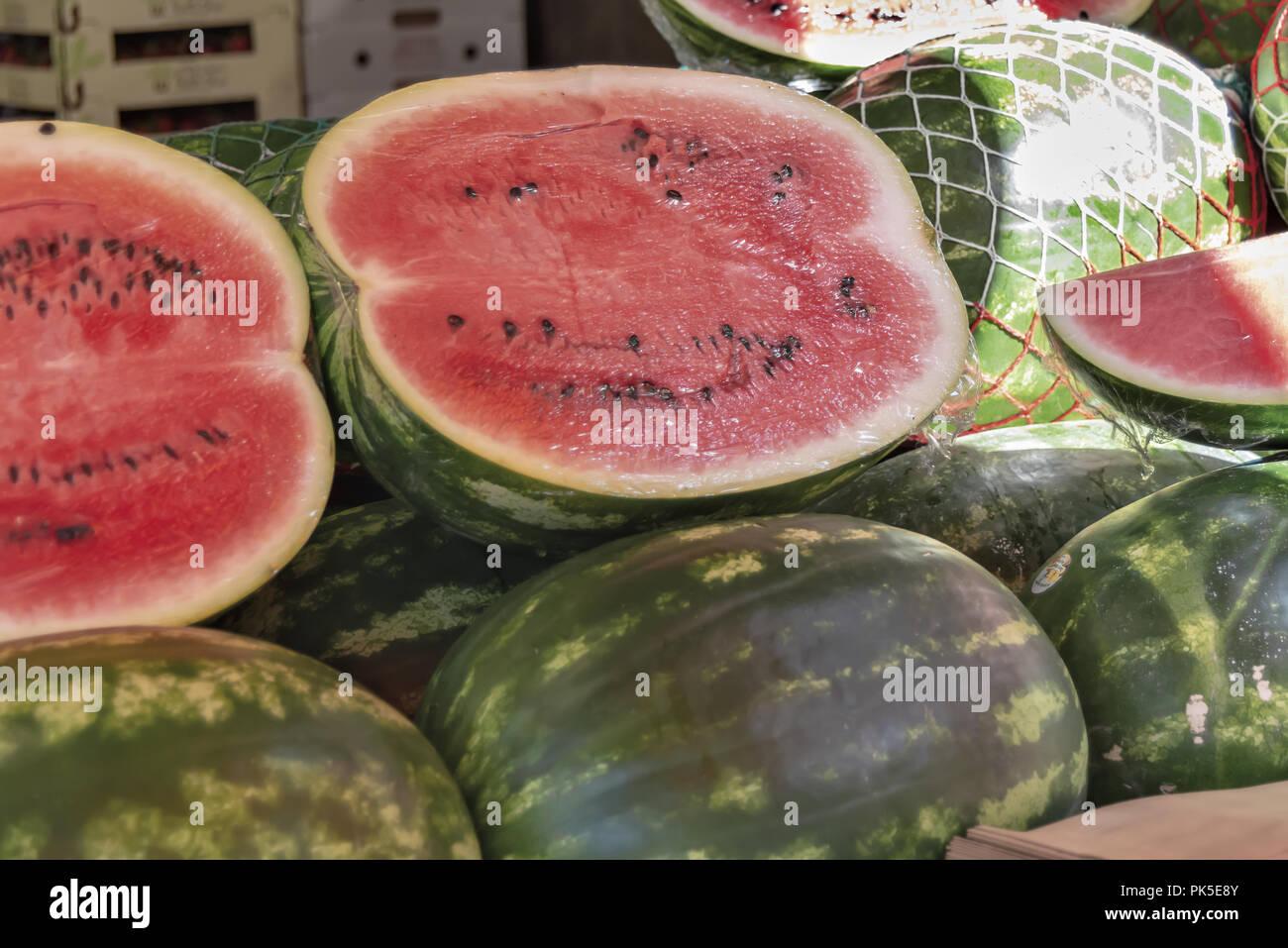 Mercato della frutta della verdura e del pesce Ventimiglia anguria - Stock Image