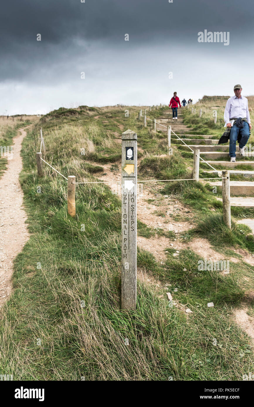 A marker direction post offering alternative routes on the South West Coast Path on the Cornish coast. - Stock Image