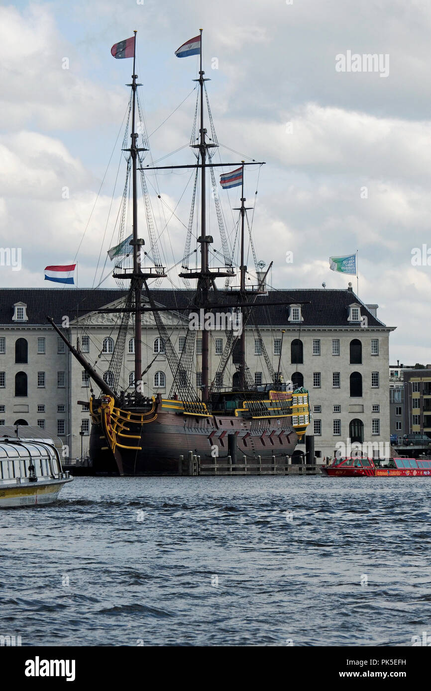 Replica (1990) of the Amsterdam, A Dutch East India Company ship of the 18th century moored by the Dutch Maritime Museum in Amsterdam Harbour. - Stock Image