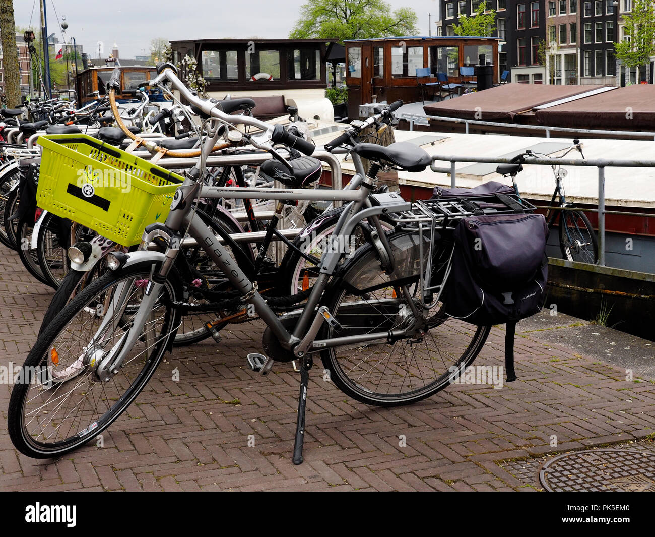 Bicycles are one of the moan forms of transport in Amsterdam and are parked everywhere, Stock Photo