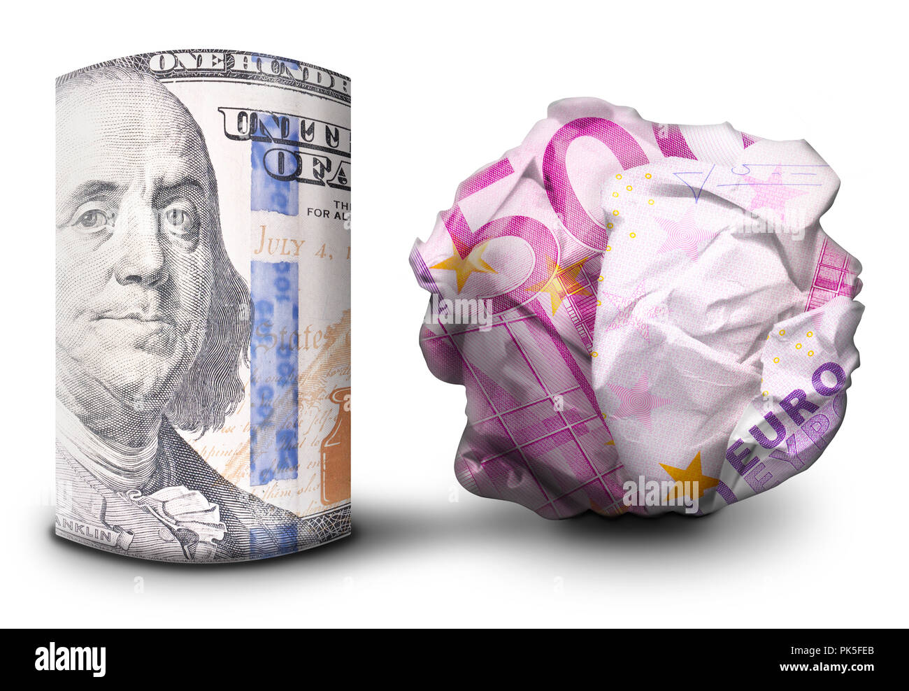 Two fiat money bills standing next to each other. One standing flat and one crumbled symbolizing currency strength and weakness. Stock Photo