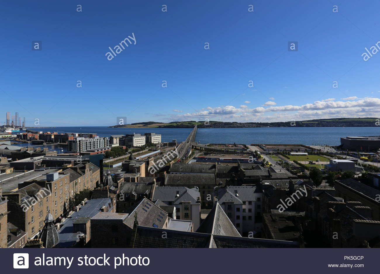 Dundee cityscape with Tay Road Bridge Scotland  September 2018 - Stock Image