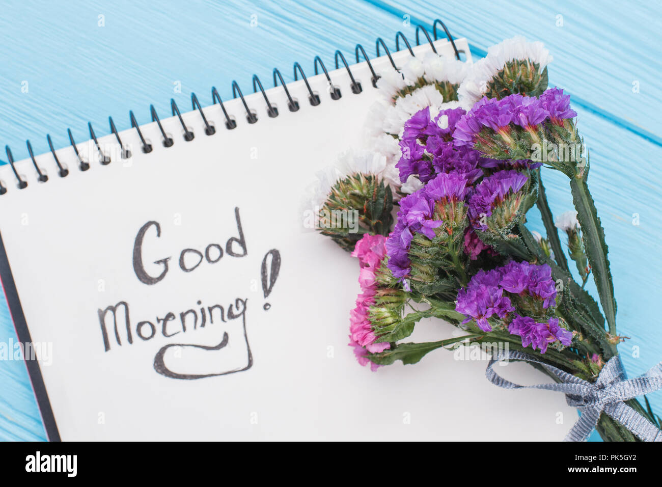 Good Morning Wish Concept Bouquet Of Statice Limonium Flowers And