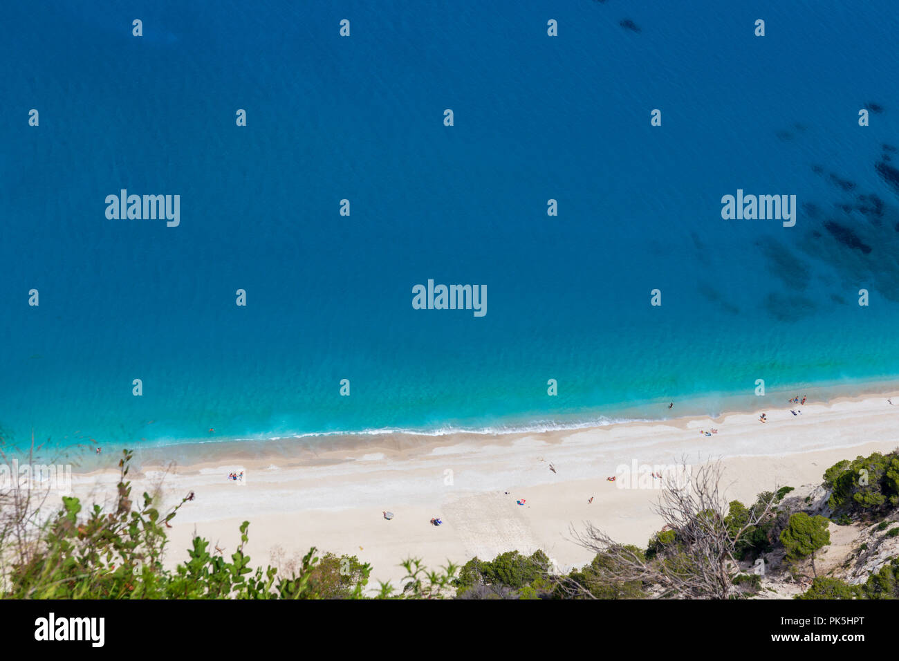 Bird eye view of the shoreline of Egremni beach, Lefkada, Greece - Stock Image