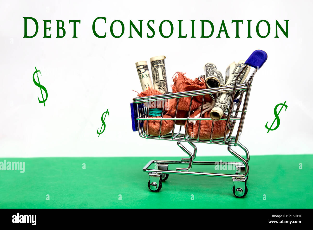 Shopping cart loads with bags of money.  Two images one with text Savings and Loans and the other Debt Consolidation.  Concept Image - Stock Image
