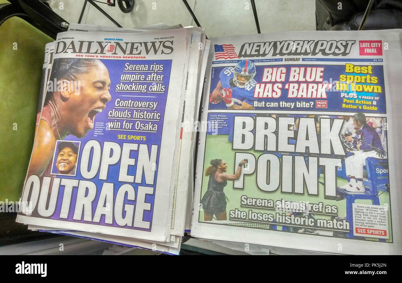 The New York Post and the New York Daily News  newspapers on Sunday, September 9, 2018 report on the previous days controversial loss by Serena Williams to Naomi Osaka the the U.S. Open tennis tournament. Williams received three violations for receiving visual instructions from her coach during a game, smashing her racket and finally a verbal attack on the referee.  (© Richard B. Levine) - Stock Image