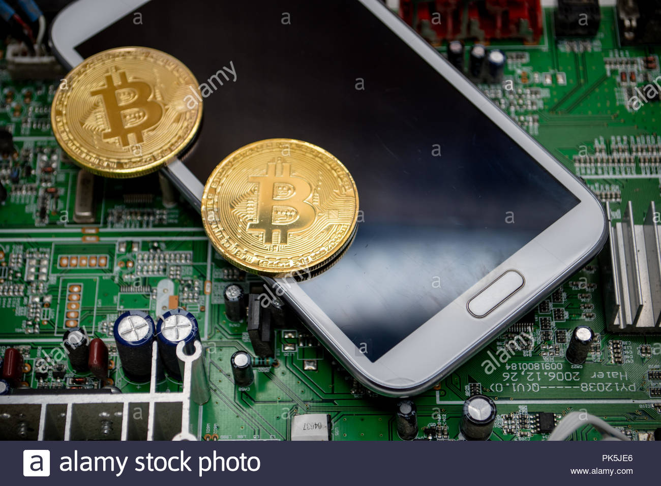 Winnipeg Mb Canada September 8 2018 Physical Bitcoin Are Cell Phone Circuit Board Depicted With A On In This Illustrative Editorial