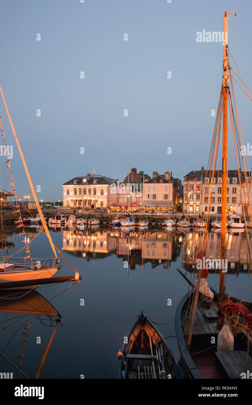Honfleur, France – is a truly picturesque and charming harbor located in the Seine estuary where the Seine meets the Atlantic Coast. - Stock Image