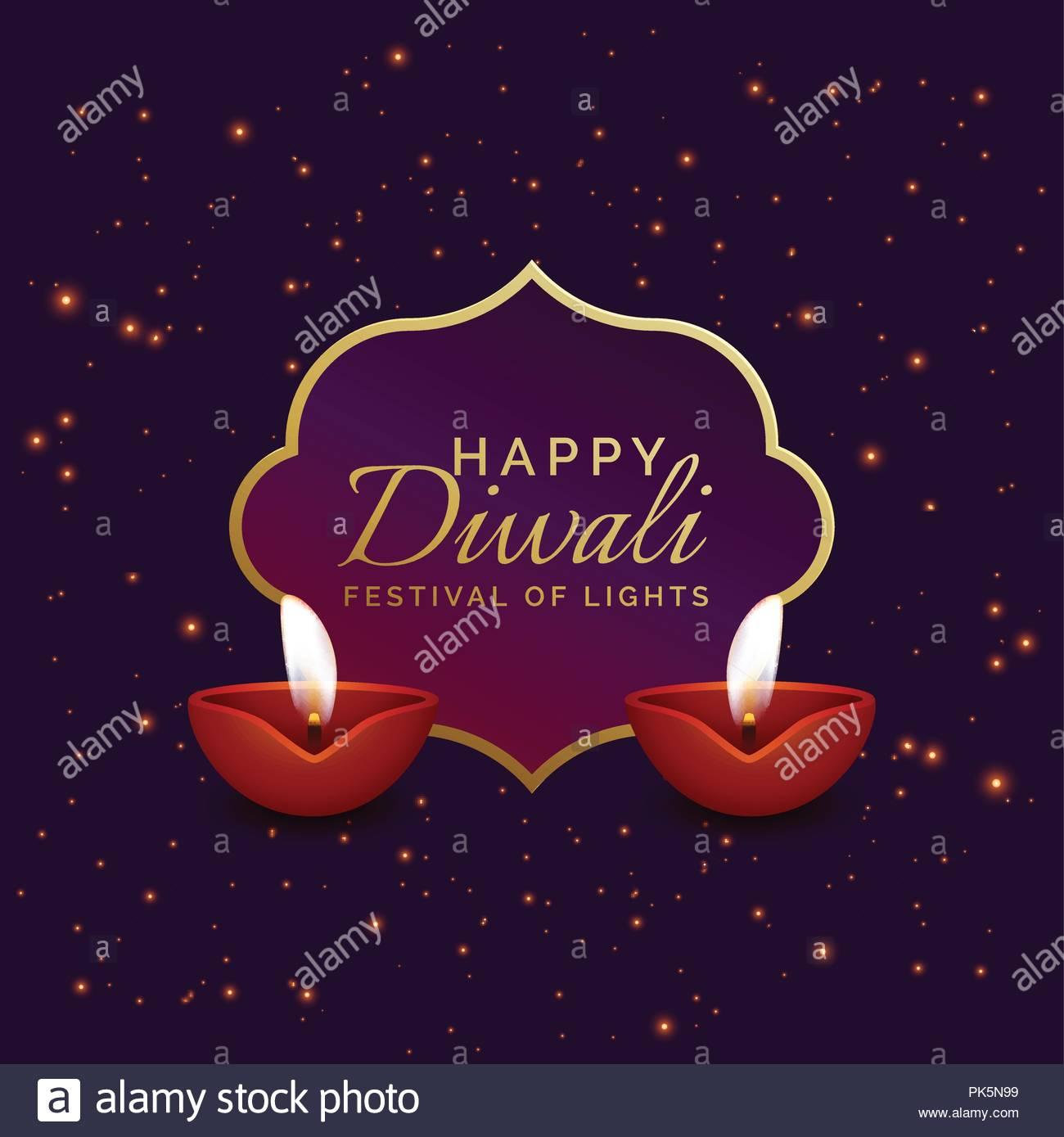 Happy Diwali Background With Diya And Sparkles Stock Vector Art