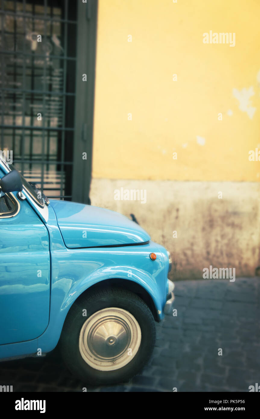Vintage italian car in Rome - Italy - Stock Image