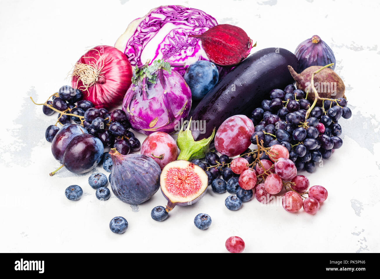 Selection of purple foods - Stock Image