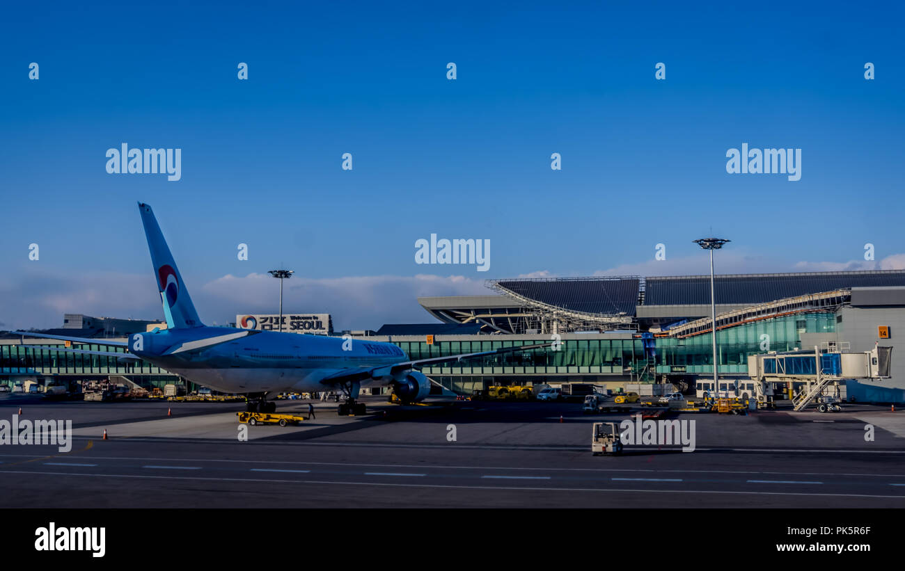 Seoul, South Korea - April 7,2018: The Gimpo Airport (GMP),  third largest airport in Korea, with carriers Korean Air (KE) . - Stock Image