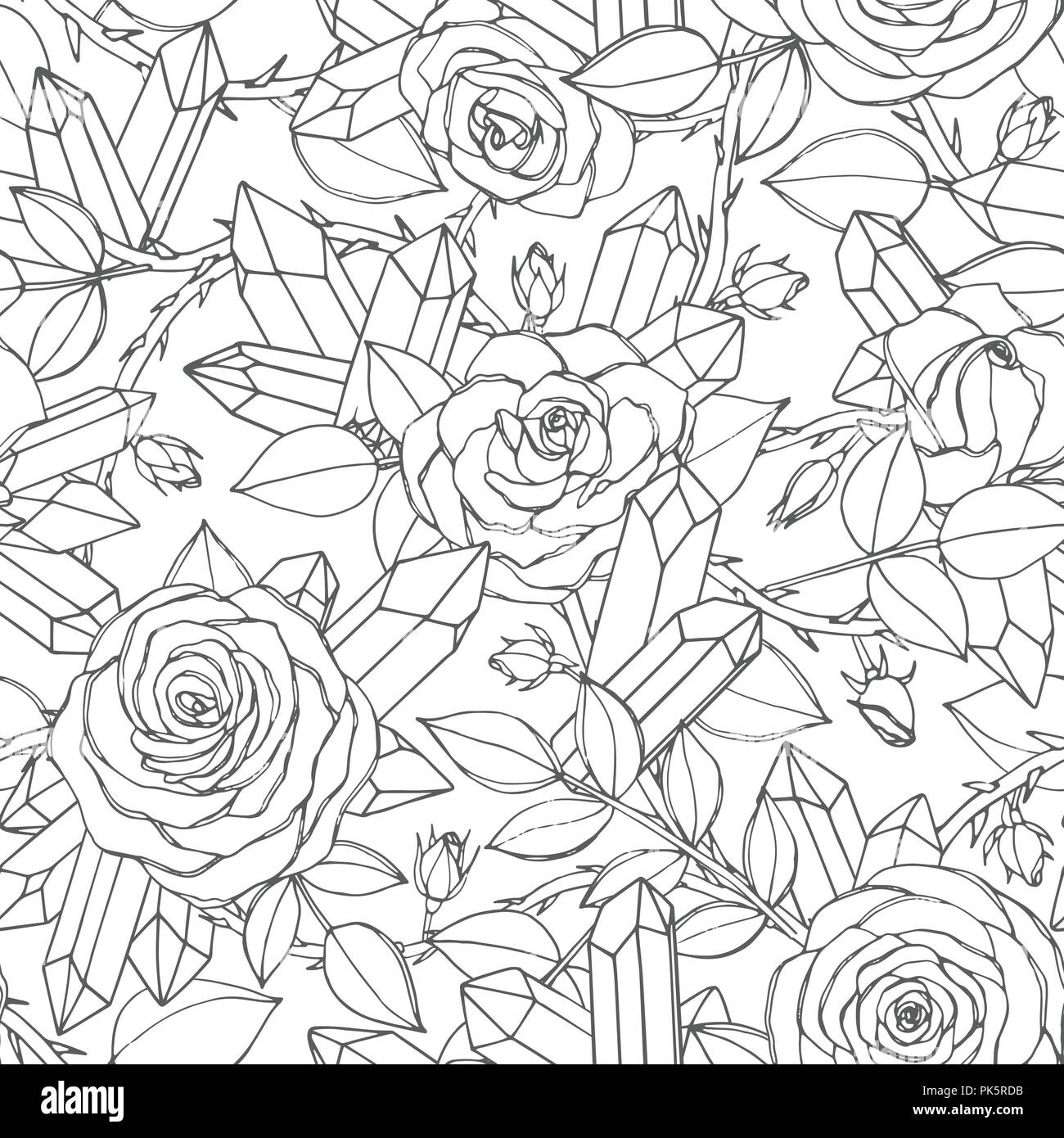 Vector hand drawn seamless pattern of rose flowers with buds, leaves, thorny stems and crystals line art on the white background. Floral ornament of b Stock Vector
