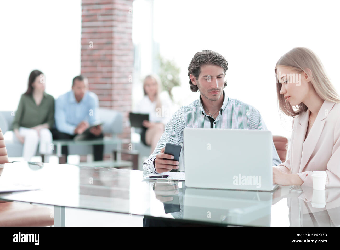 Manager is talking to in the Bank office - Stock Image