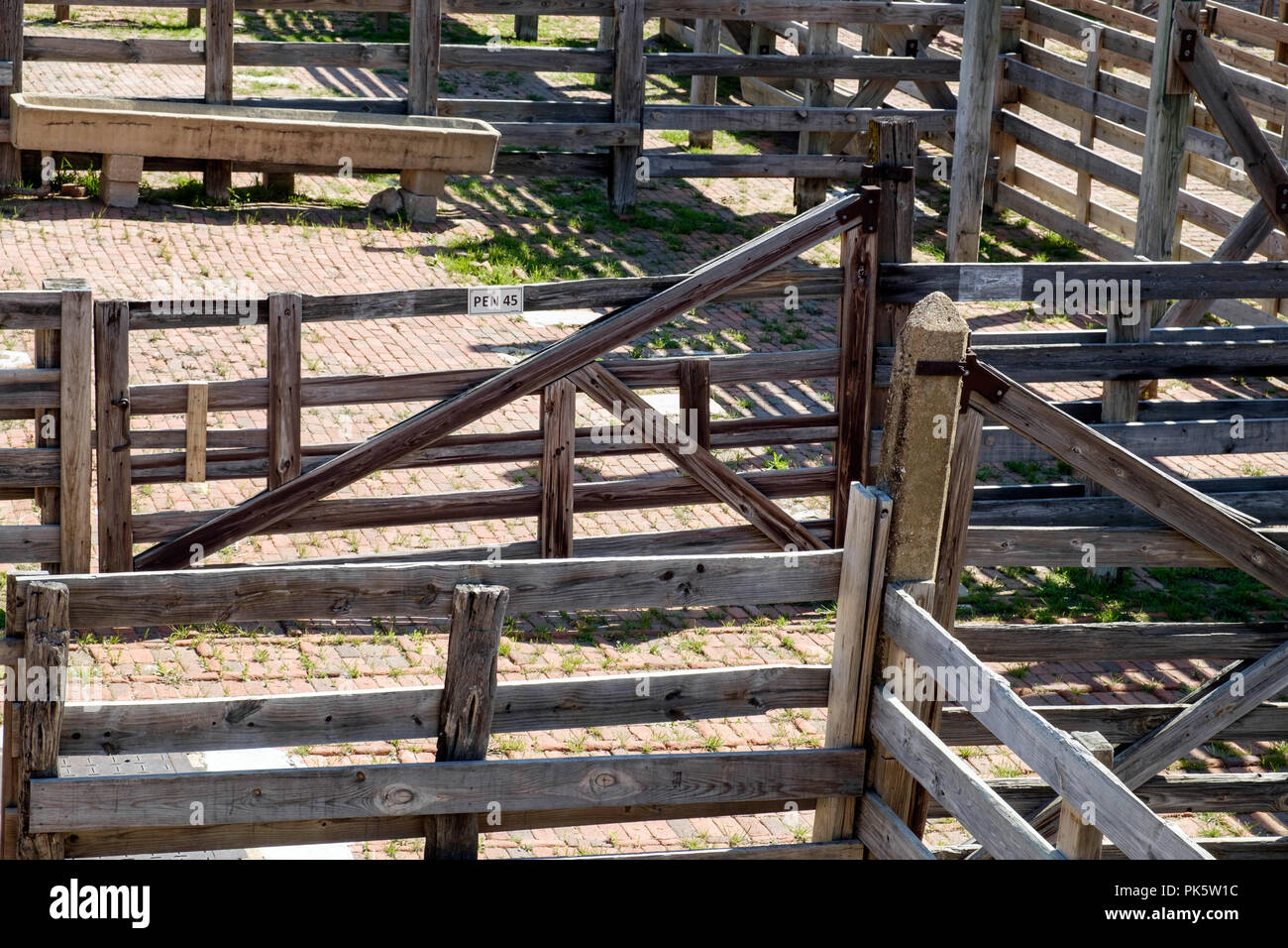 Empty Old Wooden Cattle Pens In Fort Worth Stockyards