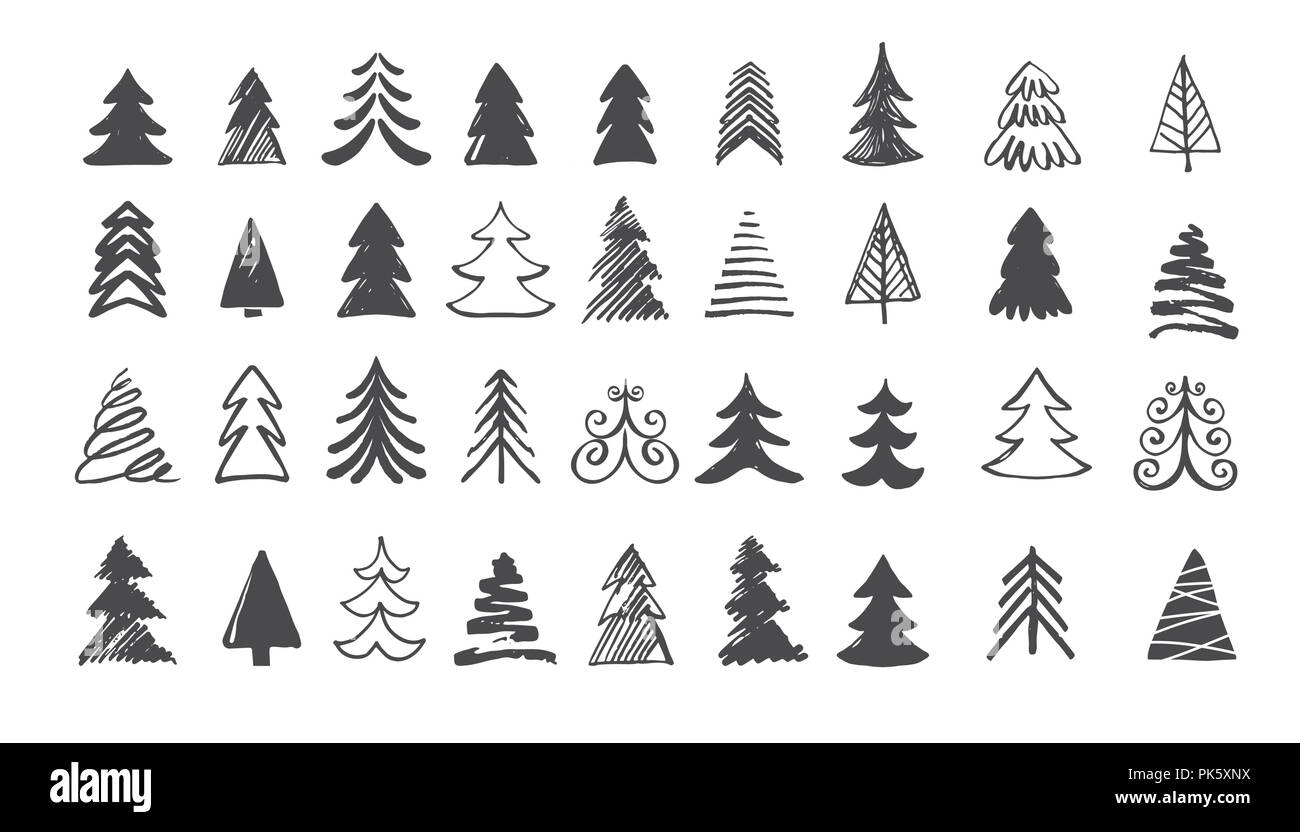 Christmas Tree Art.Hand Drawn Christmas Tree Icons Doodles And Sketches Stock