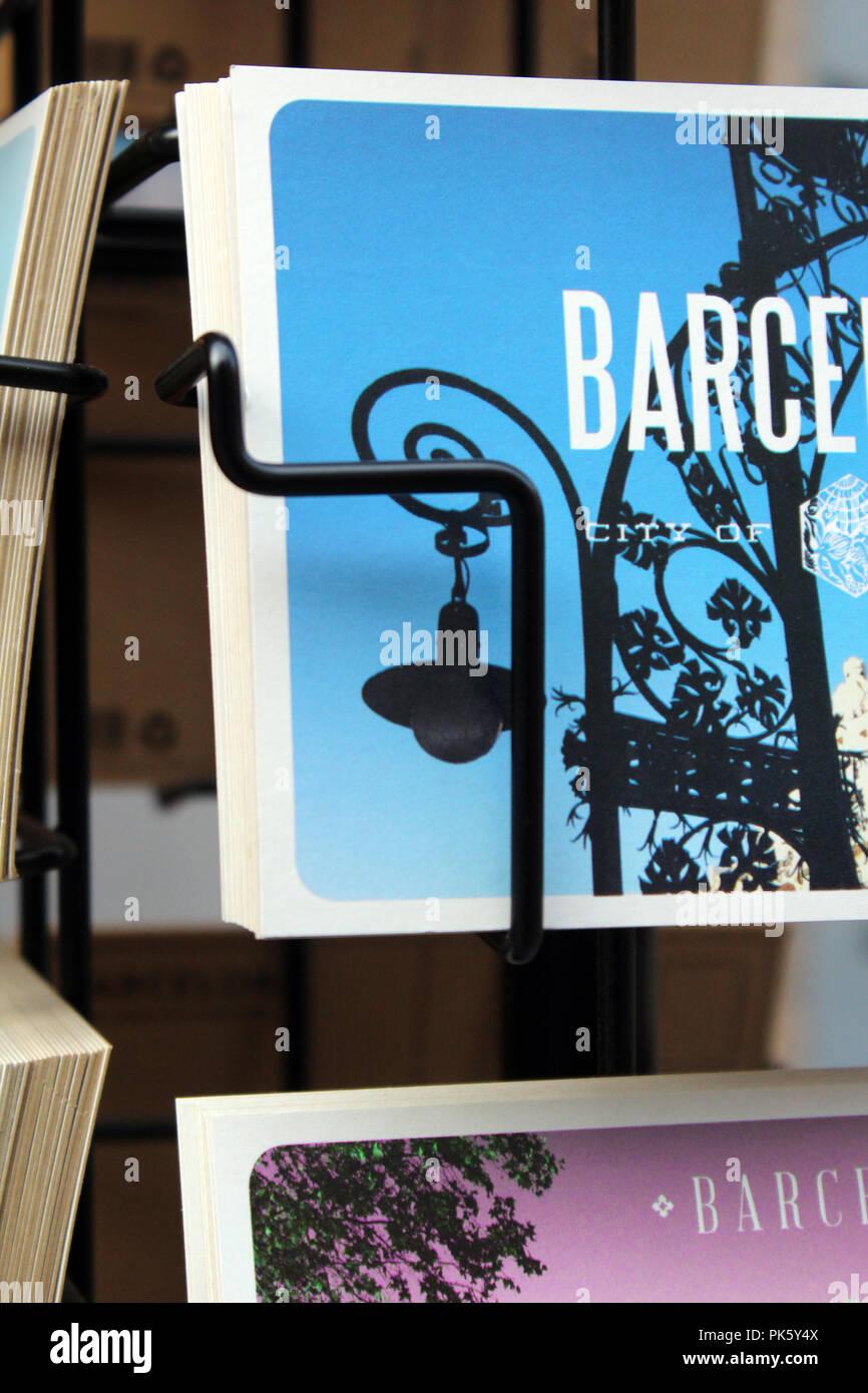 Detail of postacrds from Barcelona - Stock Image