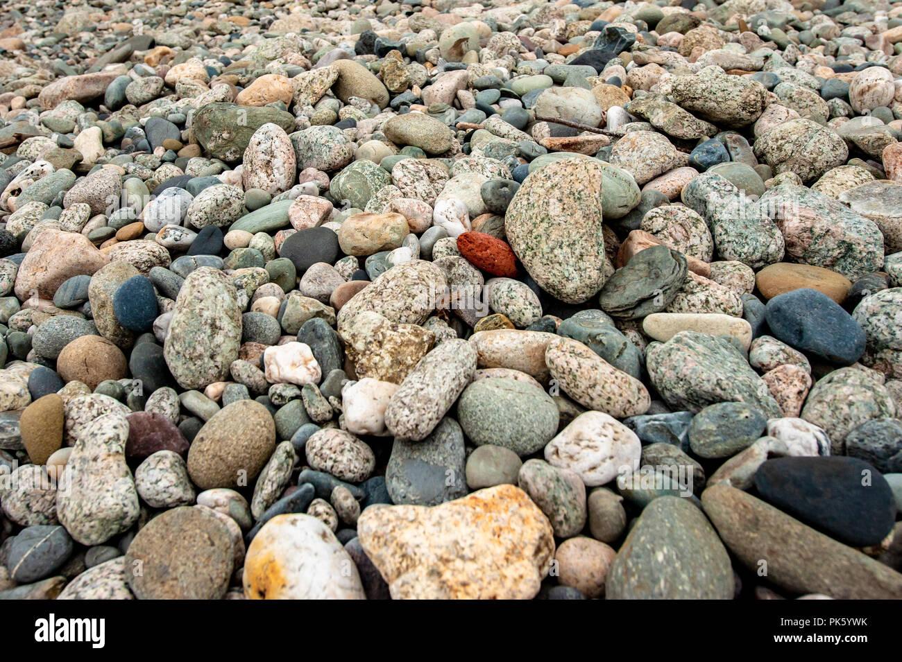 Rocky beach / landscape w/ smooth sea stones - Newport Rhode Island