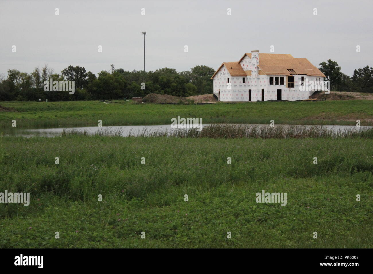 New residential houses still under construction in rural Marengo, Illinois, McHenry County. - Stock Image