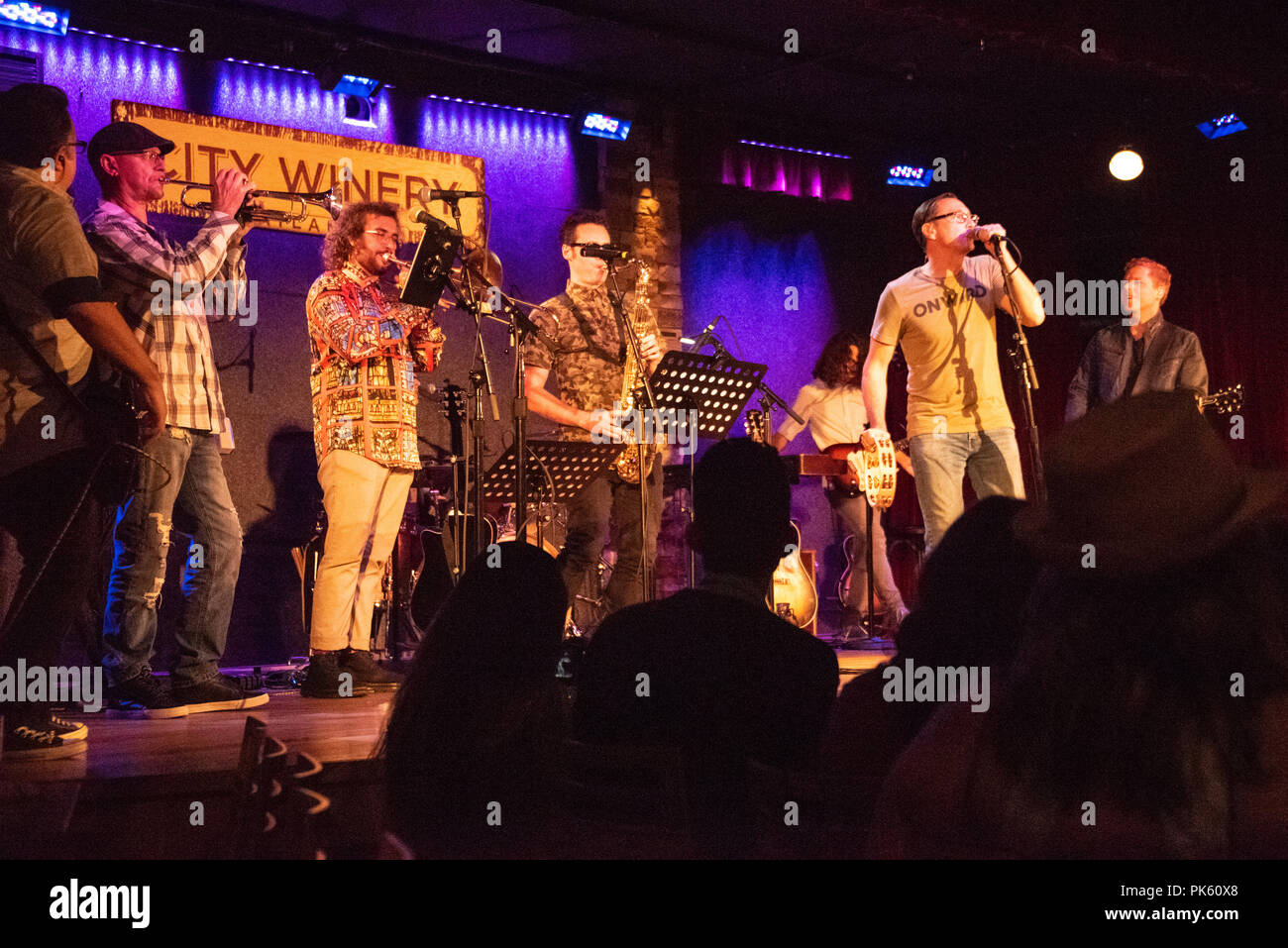 Smalltown Poets with special guest horn section performing live at City Winery in Atlanta, Georgia. (USA) - Stock Image