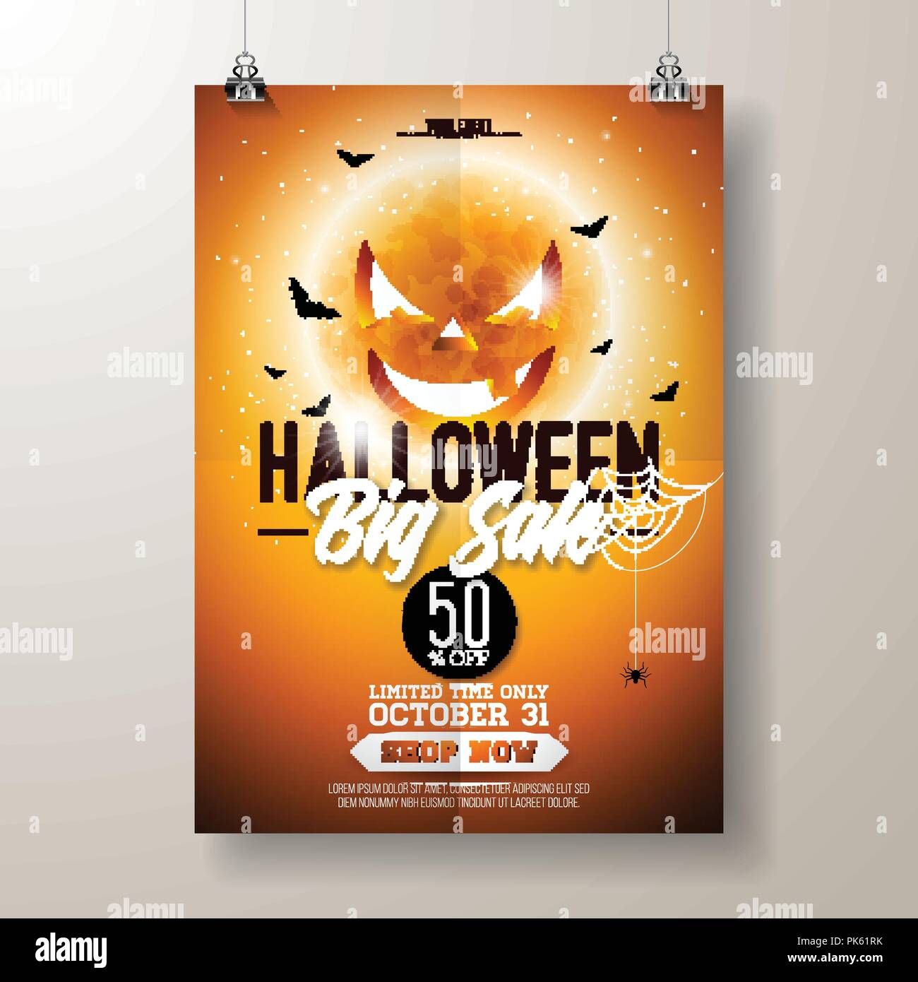 Halloween Sale Vector Flyer Illustration With Scary Faced Moon And