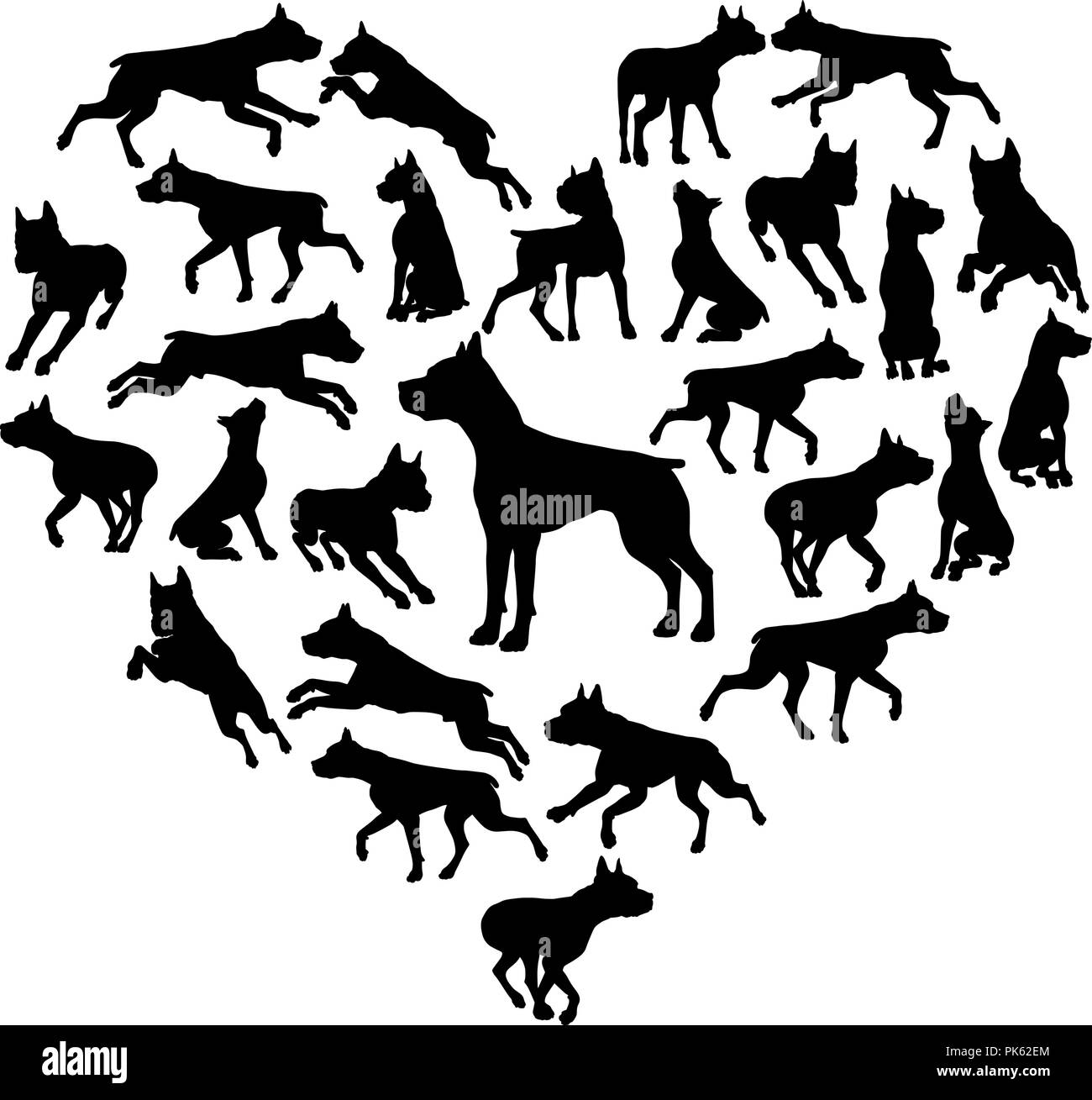 Staffy Dog Heart Silhouette Concept - Stock Image
