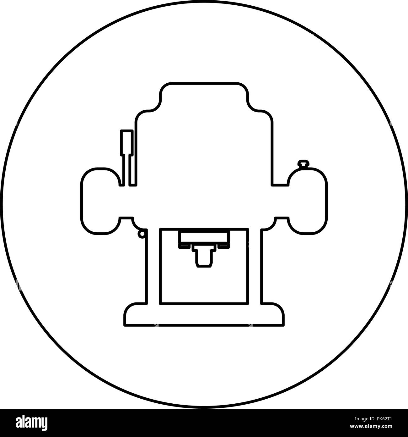 Milling cutter icon black color in round circle outline vector I - Stock Vector
