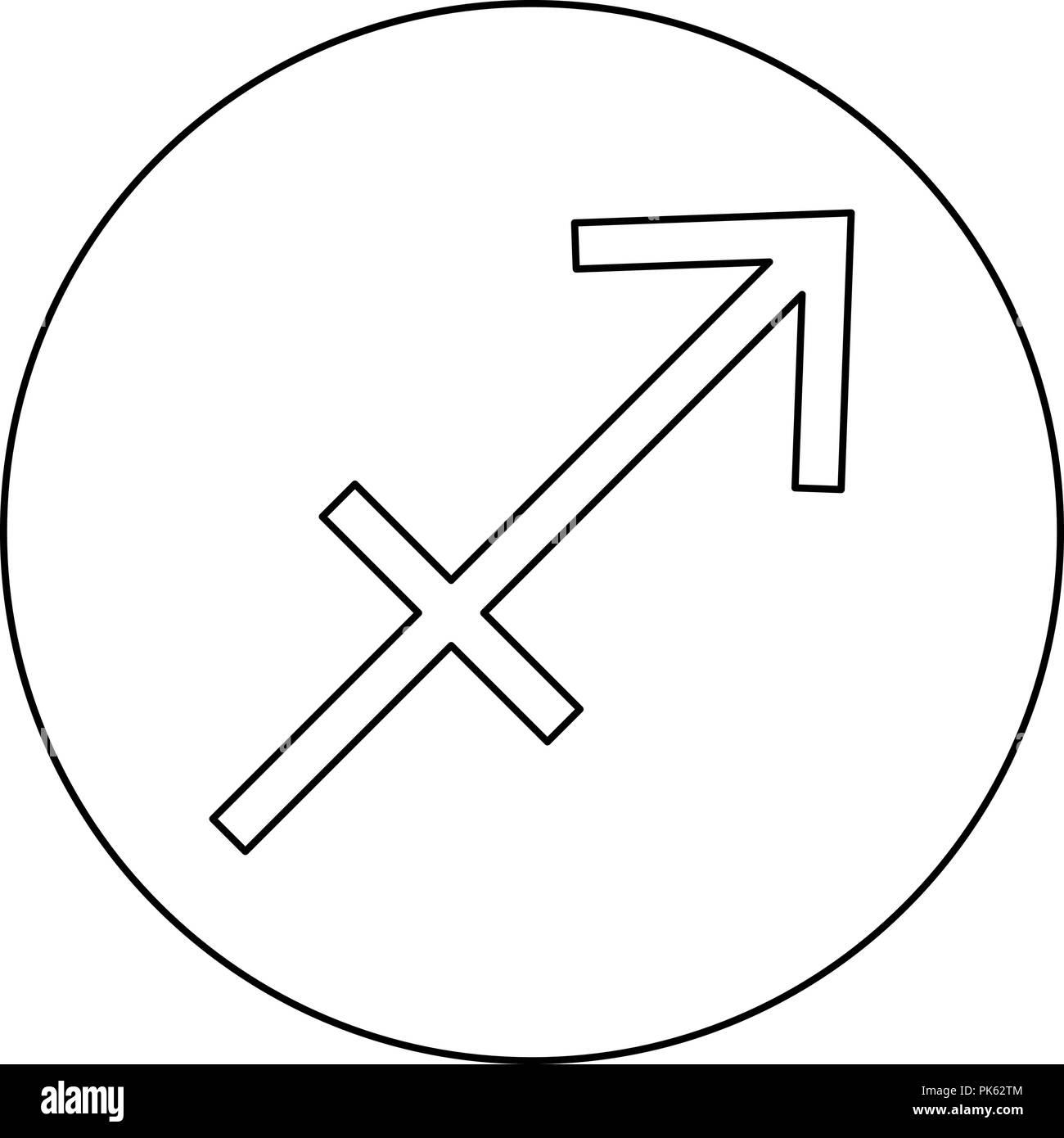 Sagittarius symbol zodiac icon black color in round circle outline vector I Stock Vector
