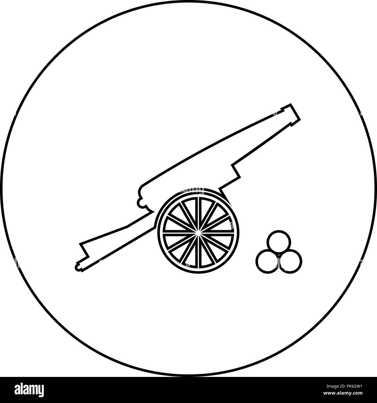Medieval cannon firing cores icon black color in round circle outline vector I - Stock Vector