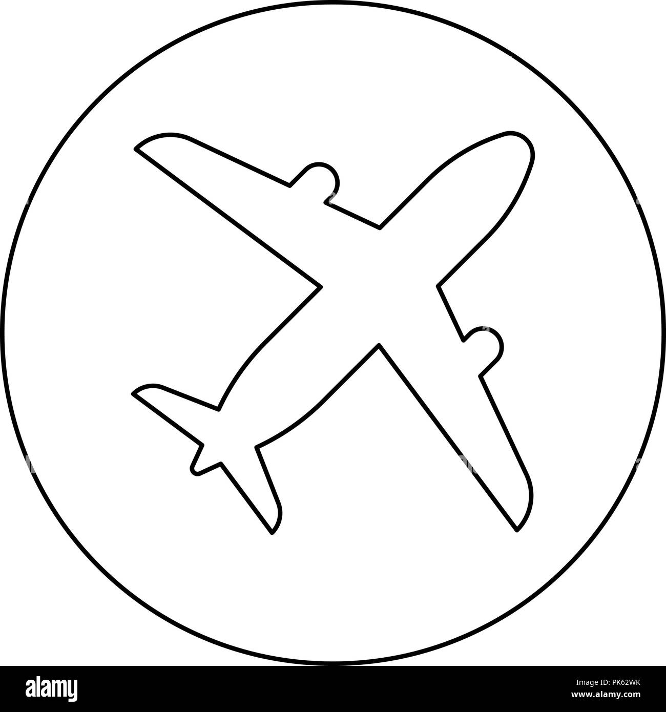Airplane icon black color in round circle outline vector I - Stock Image